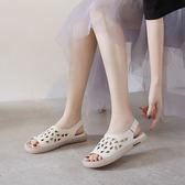 真皮涼鞋女 露趾平底涼鞋 鏤空洞洞鞋/3色-標準碼-夢想家-0619