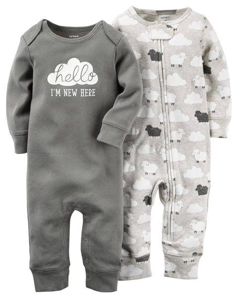 【美國Carter's】長袖連身衣2件組- 甜蜜雲朵系列 126g270
