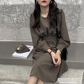 大碼女裝秋冬新款收腰氣質減齡法式復古長裙胖妹妹時尚顯瘦洋裝 中秋節全館免運