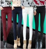 【現貨64】糖果色縮腰棉褲 刷毛打底褲 外穿女士高腰小腳褲 修身長褲 鉛筆褲 L~黑色 白色
