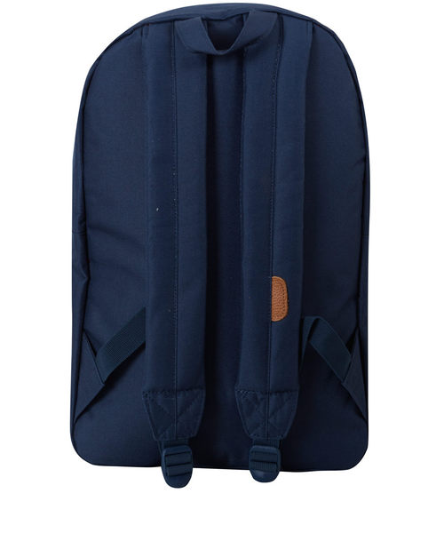 Hsin 出清 現貨 Herschel 高階 Cabin Heritage 深藍 皮革 豬鼻子 帆布 針織 雙布料拼接 筆電層 後背包