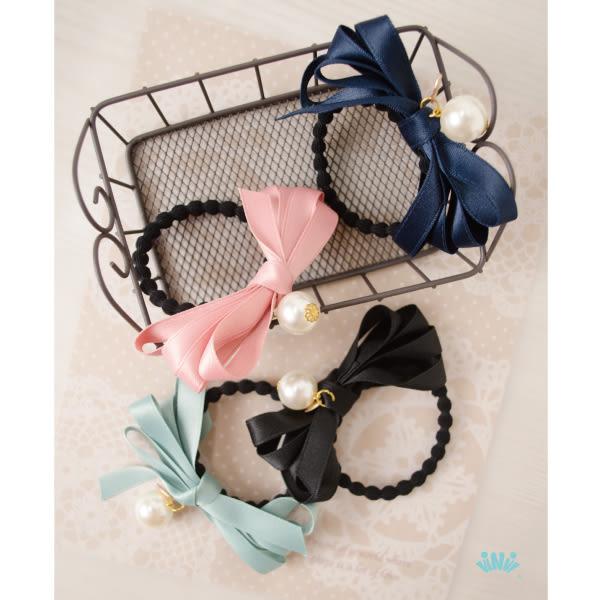 viNvi Lady 珍珠墜飾多層緞帶蝴蝶結髮圈 髮飾