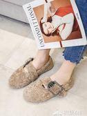 豆豆鞋-網紅毛毛鞋女冬新款韓版百搭學生平底羊羔毛豆豆鞋子加絨棉鞋-巴黎衣櫃
