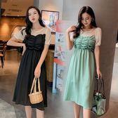 特賣款不退換中大尺碼M-4XL韓版休閒連身裙時尚遮肉假兩件褶皺收腰顯瘦中長款連衣裙3F136A-6198