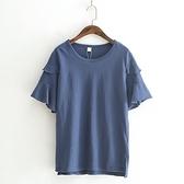 短袖T恤-純色清新優雅荷葉邊百搭女上衣5色73sy8[巴黎精品]
