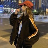 秋冬新款韓版寬鬆百搭中長款加絨加厚運動休閒立領夾克外套女 雅楓居