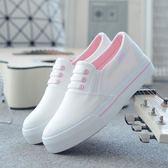 小白鞋春季新款小白鞋女鞋百搭韓版帆布鞋學生一腳蹬懶人布鞋白色鞋【父親節好康八八折】