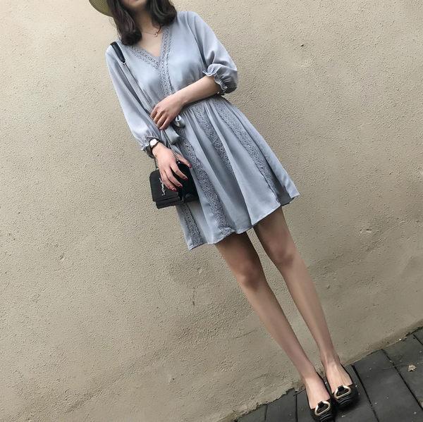 大韓訂製雪紡洋裝V領連身裙韓版蕾絲邊複古百褶裙系帶裙
