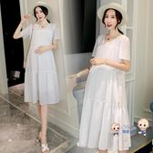 洋裝  孕婦洋裝夏裝2019新款韓版短袖寬鬆時尚休閒長裙大碼棉質裙子 1色