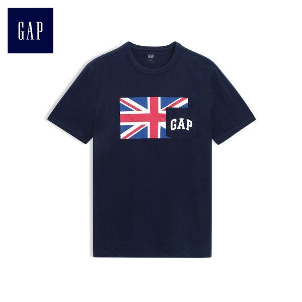 Gap男裝 潮流短袖印花T恤 497872-海軍藍