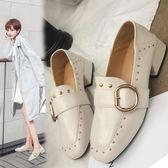 單鞋 中跟單鞋女秋冬加絨百搭粗跟鉚釘方頭淺口高跟ins小皮鞋【巴黎世家】