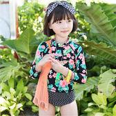 兒童泳裝 碎花 點點 甜美 兩件套 長袖 兒童泳裝【TF6107】 BOBI  08/31