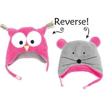 Flapjack kids雙面保暖造型帽-貓頭鷹/小老鼠LUV0136[衛立兒生活館]