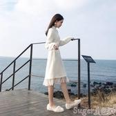 新品中尺碼洋裝秋冬配大衣毛絨連身裙女新款韓版寬鬆學生大碼仙女過膝網紗打底裙