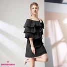 【SHOWCASE】荷葉層次露肩一字領合身雪紡洋裝(黑色)