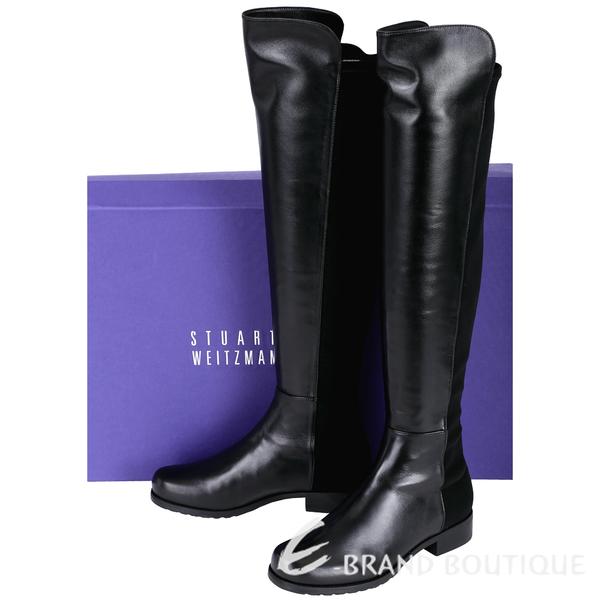 Stuart Weitzman 5050 小羊皮革拼接過膝長靴(黑色) 1530377-01