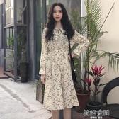 夏裝新款氣質小清新領口繫帶中長款長袖碎花洋裝顯瘦雪紡長裙潮