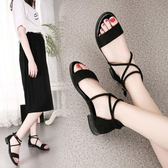 厚底楔形涼鞋夏季新款韓版平底學生女鞋羅馬一字扣交叉綁帶百搭低跟女涼鞋 秘密盒子