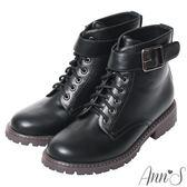 Ann'S帥氣軍靴-銀色扣帶綁帶短靴-黑