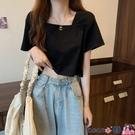 熱賣露臍上衣 夏季2021年新款韓版設計感方領露臍短款T恤純色法式短袖上衣女潮【618 狂歡】