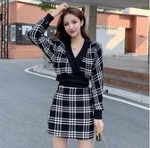 超殺29折 韓國風V領毛呢黑白格套裝長袖裙裝