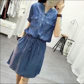 牛仔洋裝 韓版修身顯瘦松緊腰V領短袖天絲牛仔裙連身裙