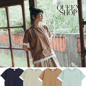 Queen Shop【01038200】撞色單口袋拼接短袖棉T 四色售*現+預*