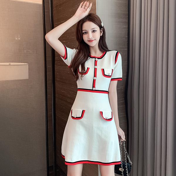 VK旗艦店 韓國小香風針織甜美設計感緞帶短袖洋裝