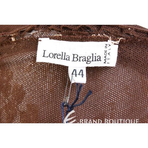 Lorella Braglia 駝金色蕾絲拼接絨質洋裝 0590029-24