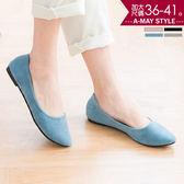 包鞋-日系質樸純色低跟包鞋(36-41加大碼)