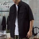 短袖襯衫 日系工裝大口袋五分袖襯衫【NLDD-C22】