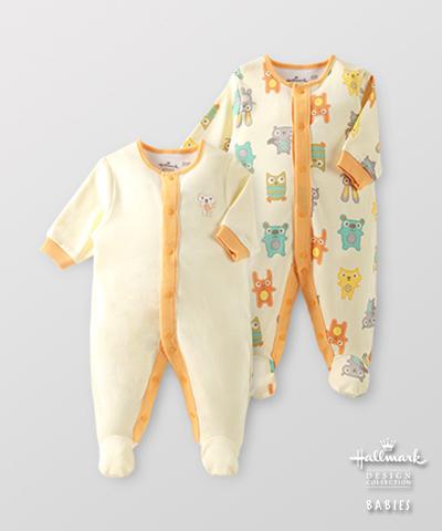 Hallmark Babies 嬰兒秋冬純棉包腳爬服長袖連身衣(兩件裝) HE3-B01-01-BU-MY