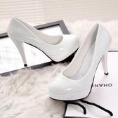 高跟鞋高跟鞋女細跟韓版圓頭性感防水台女單鞋淺口女鞋漆皮鞋 【快速出貨】