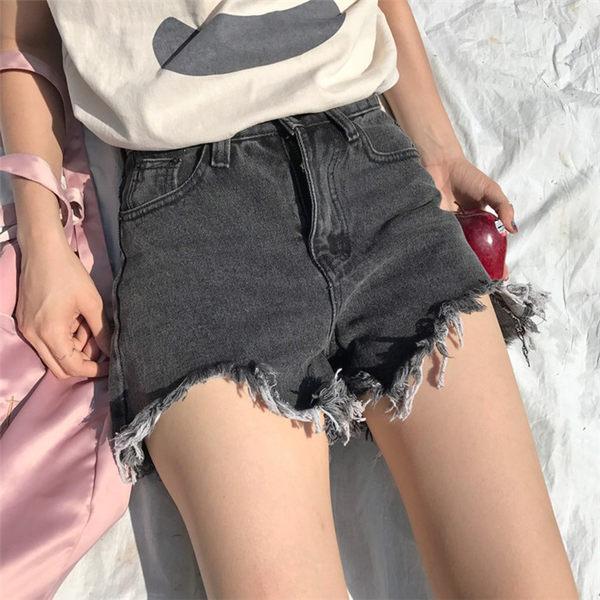 [協貿國際]高腰顯瘦牛仔褲短褲時尚寬松毛邊1入