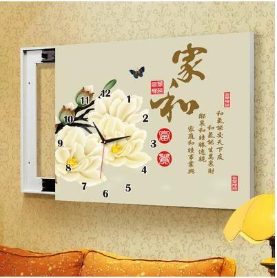 G31款電箱簡約現代壁畫帶鐘錶可推拉遮擋電錶箱裝飾畫【50*40(內徑40*30)】