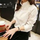 【QV0209】魔衣子-純色甜美花瓣領寬鬆長袖襯衫上衣