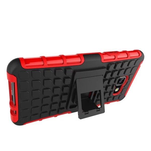 King*Shop~三星2016版A7輪胎纹手機殼三星 A7100帶支架防摔殼防滑手機保護套A710F