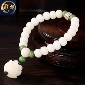 佛珠手環 彩想白玉菩提根單圈手鏈手串天然蓮花吊墜菩提項鏈配飾佛珠 交換禮物