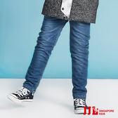 JJLKIDS 男童  素色經典直筒內刷毛牛仔褲(牛仔藍)
