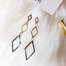 耳環 個性 幾何 鏤空 菱形 圓環 吊墜 氣質 耳釘 耳環 【DD1812150】 BOBI  3/26