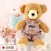 Hamee 日本製 手工 紅色碎花 吊帶褲 絨毛娃娃 玩偶禮物 泰迪熊 (棕色/M) 640-198709