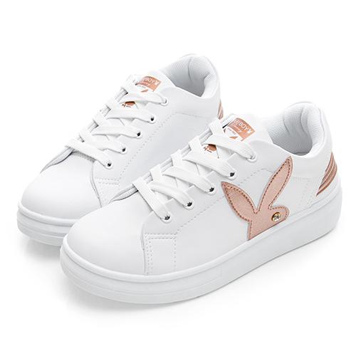 PLAYBOY 美式潮流 線條綁帶休閒鞋-白金(Y5213)
