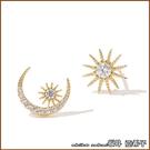 『坂井.亞希子』925純銀浪漫日月同輝鑲鑽不對稱耳環 -單一色系