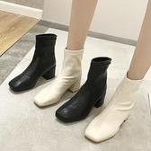 網紅粗跟短靴女春秋新款英倫風百搭短筒漆皮方頭馬丁靴ins潮 遇見初晴