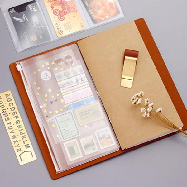 【BlueCat】旅行筆記本三卡位卡片名片票據PVC夾鏈袋 收纳袋 錢包