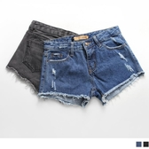 《BA1666》美式率性.破損抽鬚造型牛仔短褲.2色 OrangeBear