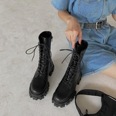 馬丁靴女春秋單靴夏季薄款潮ins酷厚底機車靴瘦瘦靴英倫風中筒靴