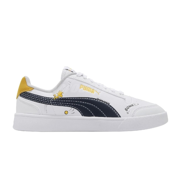 Puma 休閒鞋 Peanuts Puma Shuffle JR 白 黑 紅 史努比 聯名 女鞋 大童鞋 【ACS】 37573901