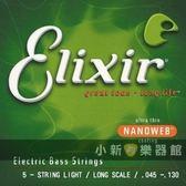 【貝斯弦】Elixir Nanoweb 五弦加長-貝斯弦(0.45-0.130) 【貝斯弦專賣店/進口貝斯弦】