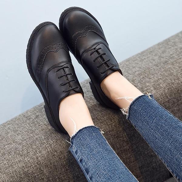 秋季新款英倫風單鞋女粗跟繫帶布